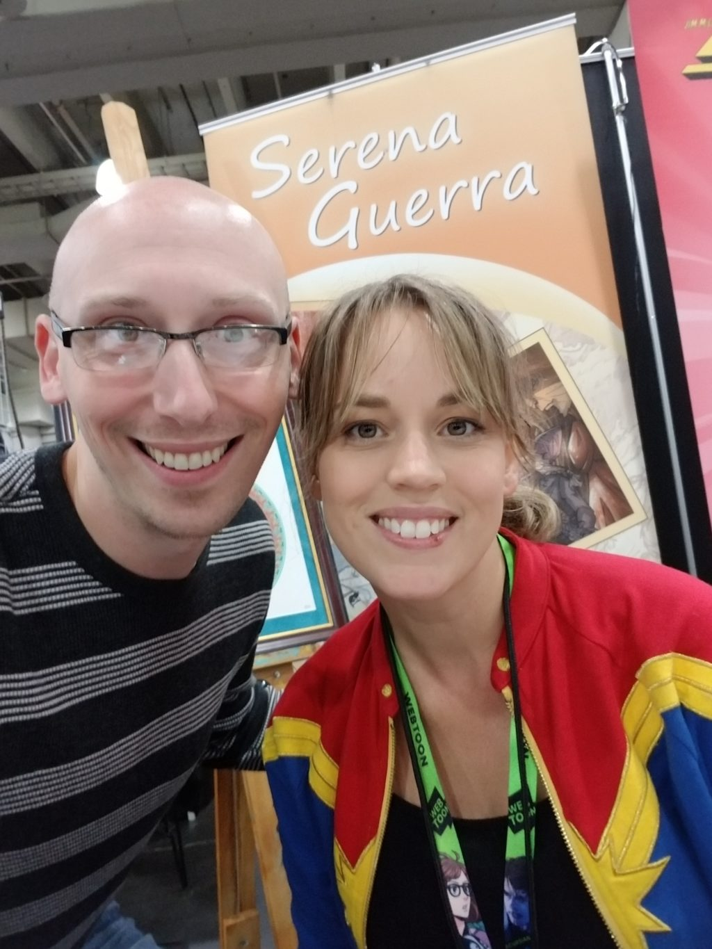 artist serena guerra with trevor mueller at artist alley new york comic con 2018