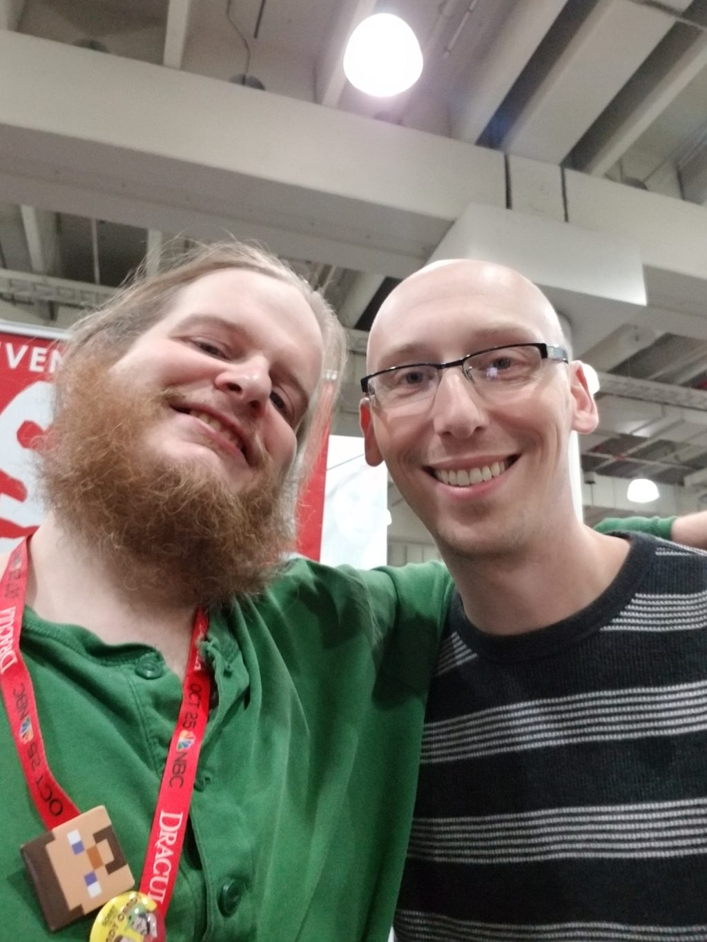 writer justin jordan and trevor mueller in artist alley at nycc 2018