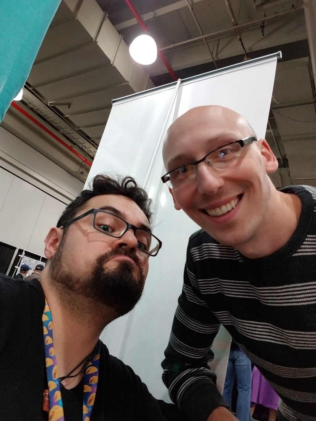 artist gabo and trevor mueller in artist alley nycc 2018