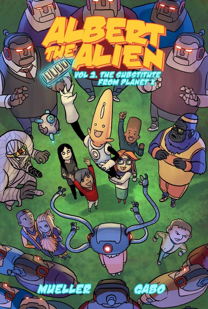 albert the alien volume 2 comic book graphic novel cover kids comic art by gabo written by trevor mueller