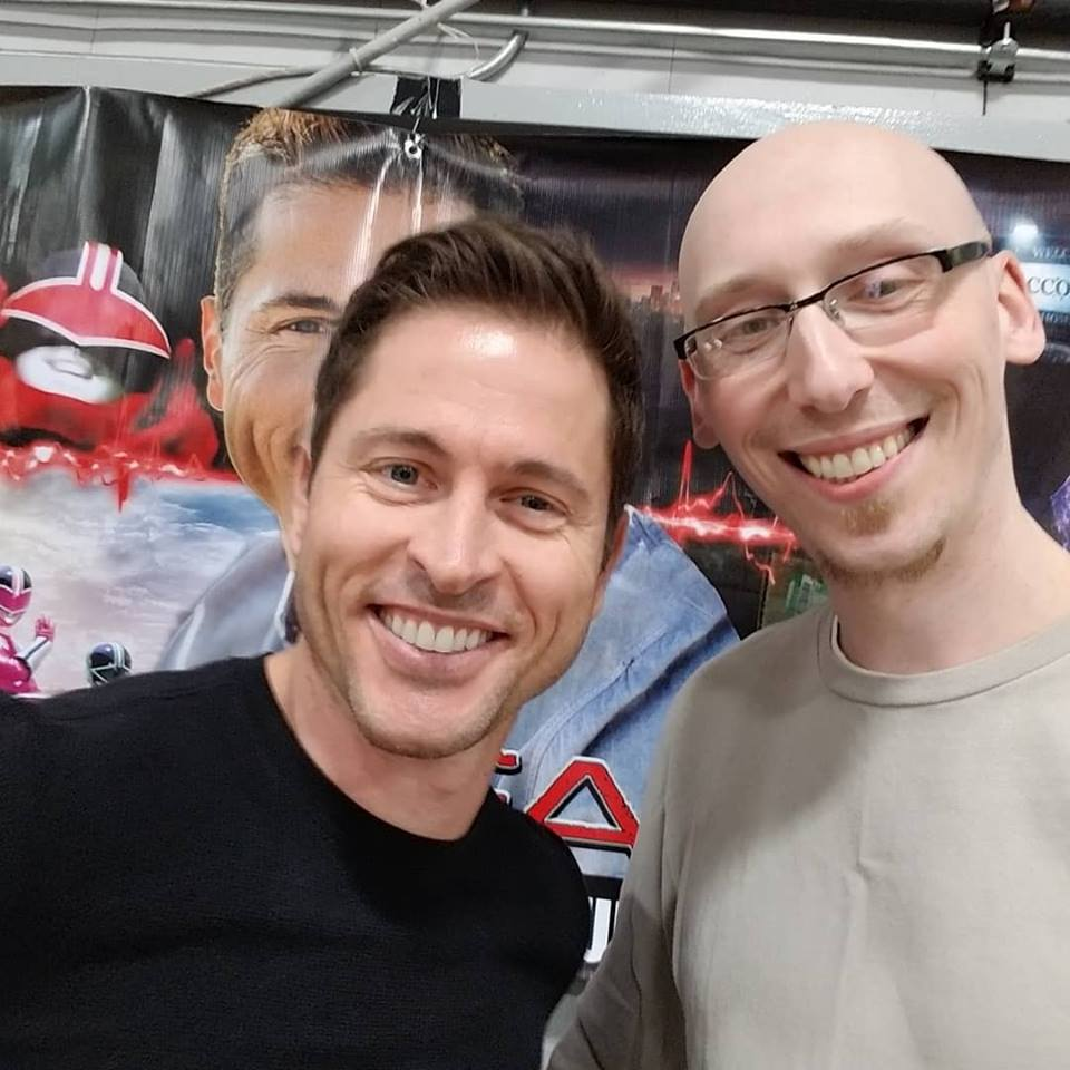Jason Faunt power rangers time force actor and comic book writer Trevor Mueller at Mighty Con 2019 in Milwaukee