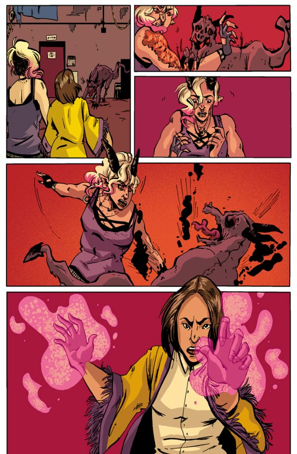 magical natalie lgbt comicbook demon fight art by katie fleming written by trevor mueller