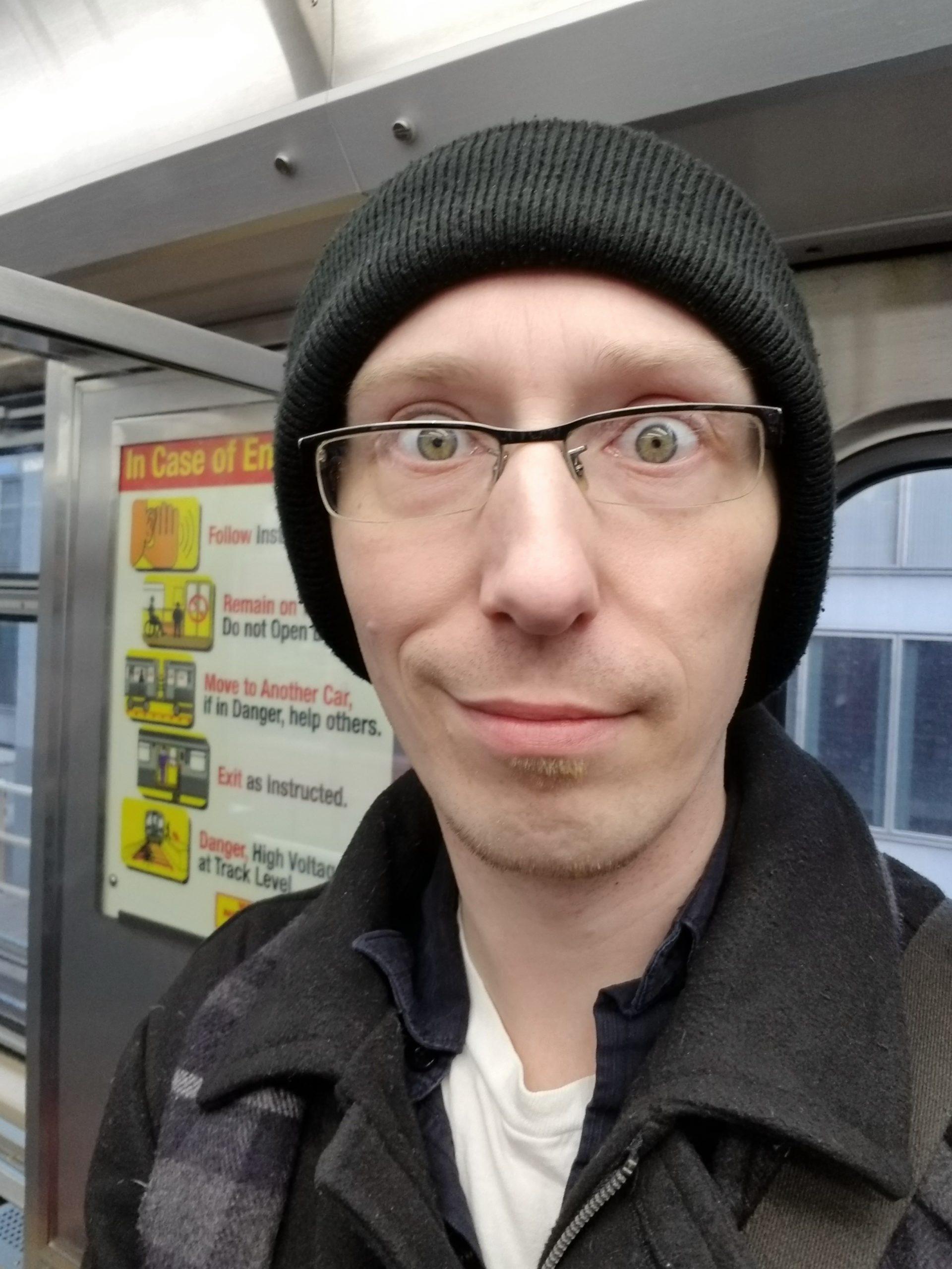 Trevor Mueller on the train